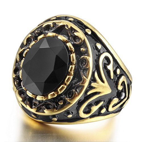 INBLUE Men's Stainless Steel Ring Agate Gold Tone Black Engraved (Stainless Steel Agate)