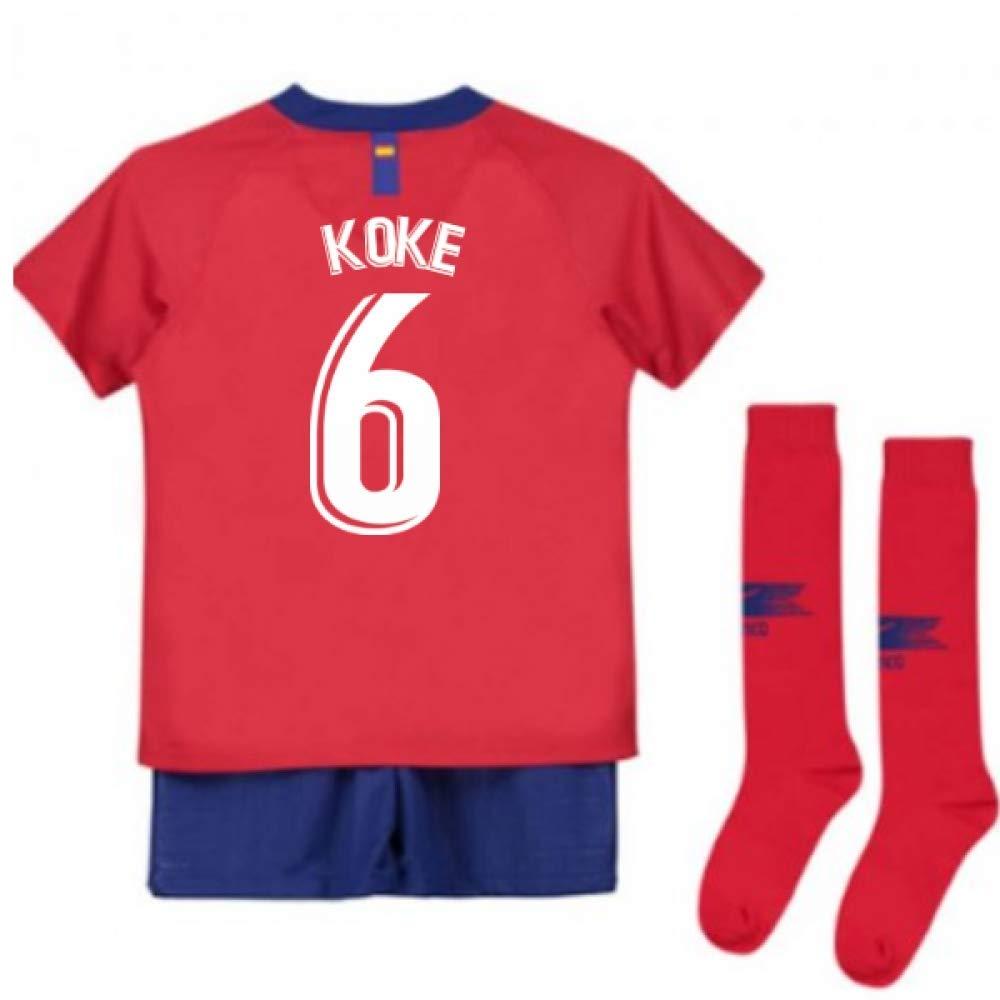 UKSoccershop 2018-2019 Atletico Madrid Home Nike Little Boys Mini Kit (Koke 6)