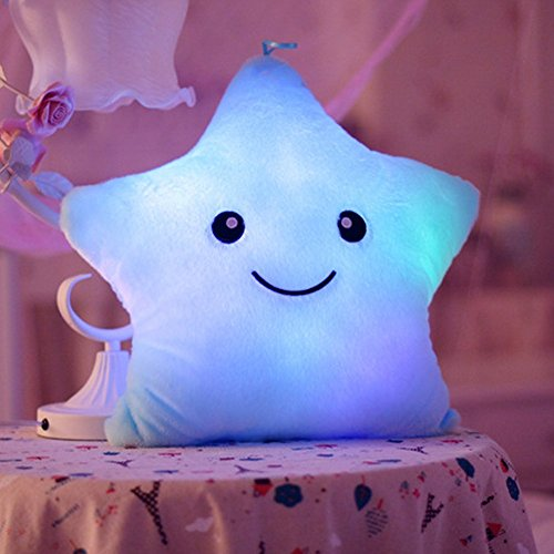 Star LED Luminous Light Pillow Cushion Gift Blue - 4