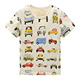 HowJoJo Toddler Boys Cotton Short Sleeve T-Shirts Summer Shirt Cars Graphic Tees Beige 2T