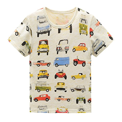 HowJoJo Little Boys Cotton Short Sleeve T-Shirts Summer Shirt Cars Graphic Tees Beige 3T