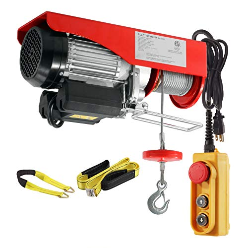 Partsam 1760 lbs Lift Electric Hoist Crane Remote Control Power System, Zinc-Plated Steel Wire Overhead Crane Garage Ceiling Pulley Winch w/Premium Straps (w/Emergency Stop Switch)