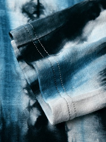 DJT Mujeres Asimetrica Camisa Blusa de Manga Larga Estilo Elastico Tunic Shirt Tee Azul N5