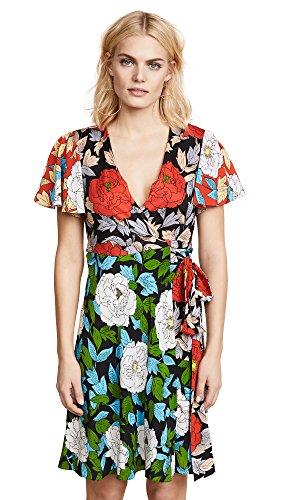 Diane von Furstenberg Women's Flutter Sleeve Front Tie Dress, Boswell Ivory Multi, 4