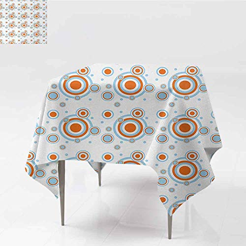 DILITECK Square Tablecloth Geometric Bullseye Pattern with Circles and Dots Bicolor Modern Abstract Design Picnic W50 xL50 Orange Pale Blue White