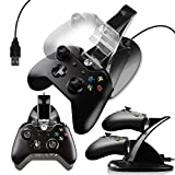 Megadream Xbox One Dual USB Charging Charger Docking Station Stand with 2 Rechargeable Battery 600mAH & Charging / Charged Indicator LED Light for Microsoft Xbox One / S / Elite / X Controller