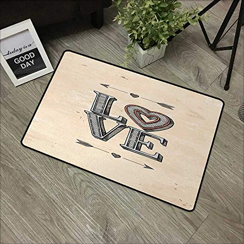 - Interior mat W35 x L47 INCH Love,Grunge Looking Vintage Letters with Heart and Arrows Boho Tribal Hipster Design,Beige Grey Orange Easy to Clean, no Deformation, no Fading Non-Slip Door Mat Carpet