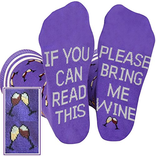 Saucey Socks Purple Bring Me Wine Socks Please (Medium) Women unique designs! Luxury wine gift