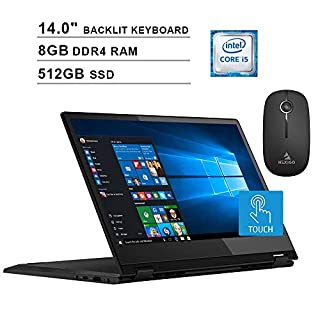 2020 Lenovo Flex 14 Inch FHD 1080P Touchscreen 2-in-1 Laptop| Intel Core i5-8265U up to 3.9GHz| 8GB RAM| 512GB SSD| MX230 2GB| Backlit KB| FP Reader| Win10 + NexiGo Wireless Mouse