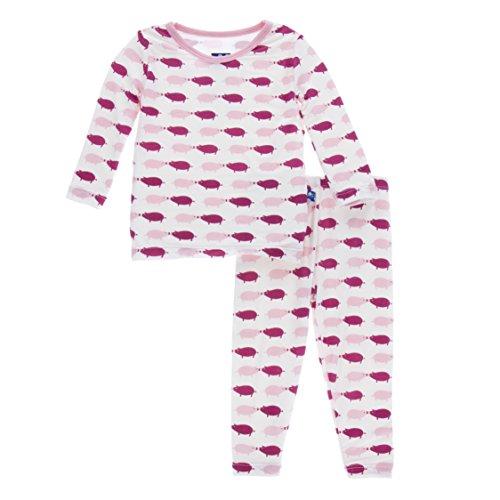 KicKee Pants Print Long Sleeve Pajama Set in Natural Pig, 7Y