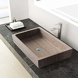 MAYKKE Lehi 24 Inch Rectangular Bathroom Stone Sink, Brown