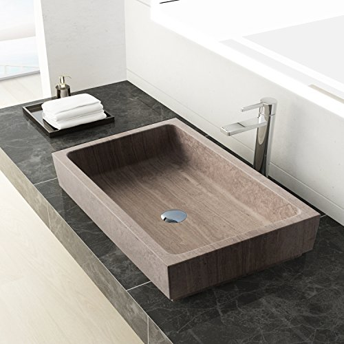 MAYKKE Lehi 24 Inch Rectangular Bathroom Stone Sink, Brown Natural Stone Marble Sinks for Bathroom Vanity, Modern Vessel Sink in Wooden Grey Marble, (Beige Wall Mount Sink)