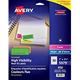"Avery High Visibility Shipping Labels for Laser Printers, 2-5/8"" x 1"", Assorted Neon, Rectangle, 450 Labels, Permanent (5979) Made in Canada"