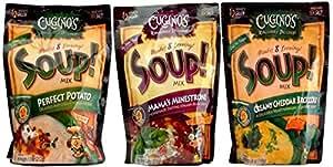 Cugino's Ridiculously Delicious! Soup Mix 3 Flavor Variety Bundle: (1) Cugino's Perfect Potato Soup Mix, (1) Cugino's Mama's Minestrone Soup Mix, and (1) Cugino's Creamy Cheddar Broccoli Soup Mix, 6.8-7.5 Oz. Ea.