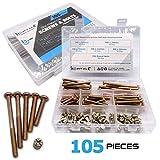 Zinc Plated Crib Screws and Bolts 105 pcs, Hex Drive Socket Cap Furniture Barrel Screws Bolt Nuts