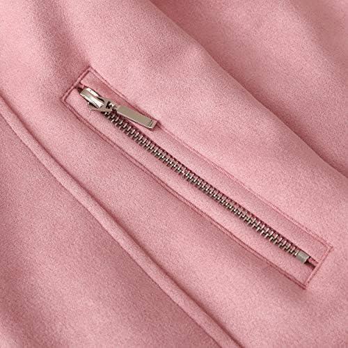 Somlatrecy Woman's Faux Suede Jacket Long Sleeve Zipper Notch Collar Moto Biker Coat Short Coat Outwear