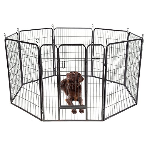 PetDanze Dog Pen Metal Fence Gate Portable Outdoor | Heavy Duty Outside Pet Large Playpen Exercise RV Play Yard | Indoor Puppy Kennel Cage Crate Enclosures | 40' Height 8 Panel