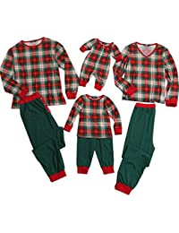 Plaid Family Matching Clothes Long Sleeve and Pants Pajamas Set