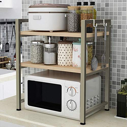 RMJAI Storage Racks Microwave Oven Rack 1/2 Layer Kitchen Shelf Stainless Steel Rack Rice Cooker Rack Multifunction Oven Tableware Condiment Storage Rack (Size : L60×W40×H71cm)