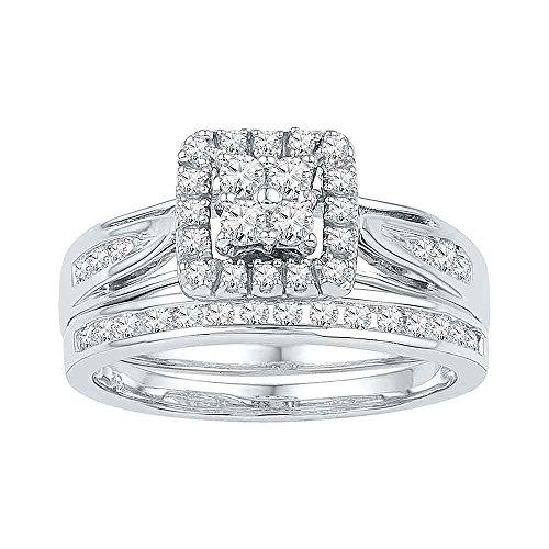 Diamond Cluster Bridal Set - Square Halo Engagement Ring & Wedding