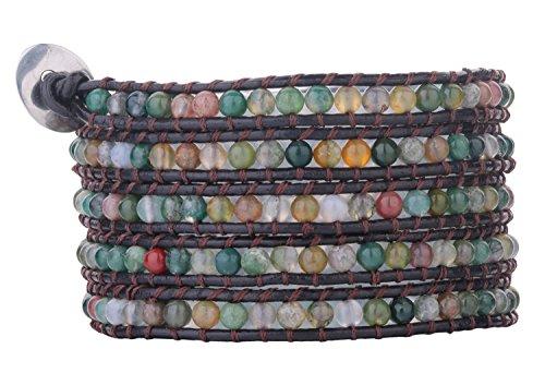 Babao Bijoux colorés Agate Perles de 4mm 5Wraps Bracelet en cuir