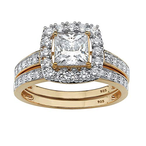18K Yellow Gold over Sterling Silver Princess Cut Cubic Zirconia Halo Bridal Ring Set Size 6