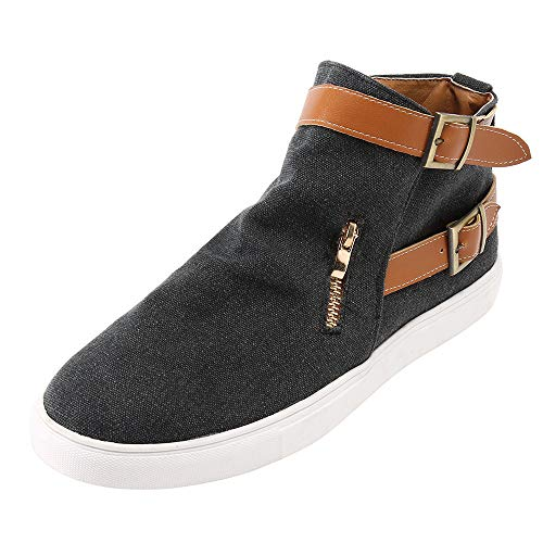 POHOK Vintage Women Flat Bottom Round Zipper Canvas Casual Zipper Shoes(43,Black) ()