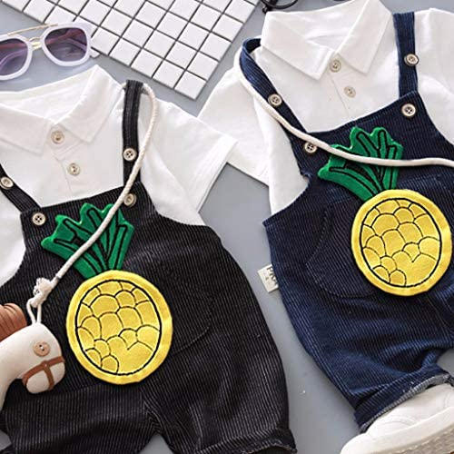 Baby Clothes Outfits Sets,Zerototens Summer Newborn Infant Boys Girls Clothing Suit Cartoon Pineapple Print Suspender Trousers+Lapel Shirt Tops 2Pcs Toddler Sets