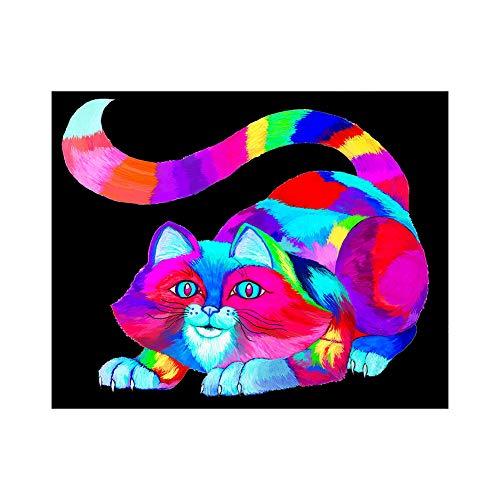 lightclub Rainbow Color Zebra Cat Full Diamond Painting Cross Stitch Embroidery DIY Craft T011