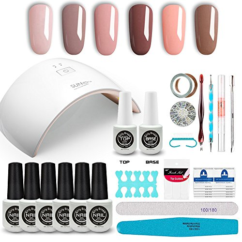 GirlyDream Gel Nail Polish Set Top Base Coat 6 Color Nail Polish SUN9C Plus 36W Fast Curing LED Nail Lamp Complete Manicure Tools New Starter Nail Art Tool Kit #005 ()