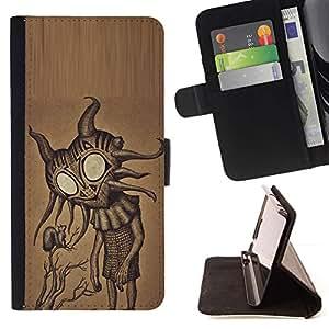 Momo Phone Case / Flip Funda de Cuero Case Cover - Lindos ojos grandes friendly Arte extranjero - HTC DESIRE 816