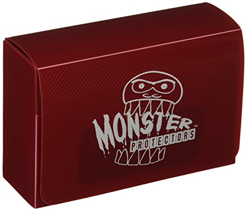 Collector Deck Box - Monster Protectors Trading Card Double Deck Box with Magnetic Closure - Red (Fits Yugioh, Pokemon, Magic the Gathering Cards)