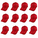 Plain Blank Baseball Caps Adjustable Back Strap WHOLESALE LOT 12 Pack- Red