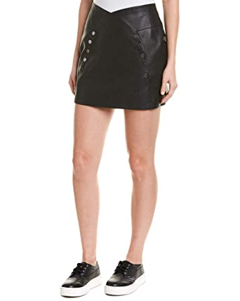 0707cae524399f Amazon.com: BCBGMAXAZRIA Women's Pleather Button Front Mini Skirt: Clothing