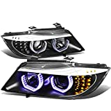 For BMW 3-Series Sedan Pair of Black Housing Amber Signal 3D U-Halo Blue LED Projector Headlight