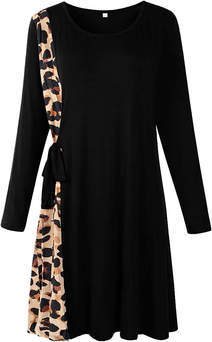 LARACE Leopard Tshirt Dress Plus Size Dresses for Women Long Sleeve Pleated Strappy Swing Tunic Dress
