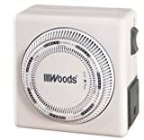 Woods 59201 Lamp and Appliance Timer with Grounded 3-Prong Outlet, Repeats Weekly