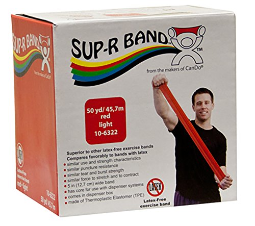 CanDo Sup-R Band Latex Free Exercise Band, 50 Yard Roll, Red, Level 2, Light Resistance
