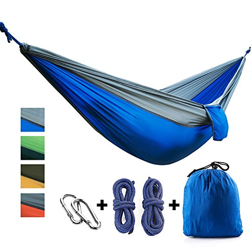 CCTRO Double Camping Hammock, Portable Lightweight Nylon Parachute Hammocks with Tree Straps & Carabiners for Backpacking, Camping, Travel