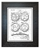 Soccer Ball Patent Art Gunmetal Print with a Border in a Rustic Oak Wood Frame (24'' x 36'') M12442