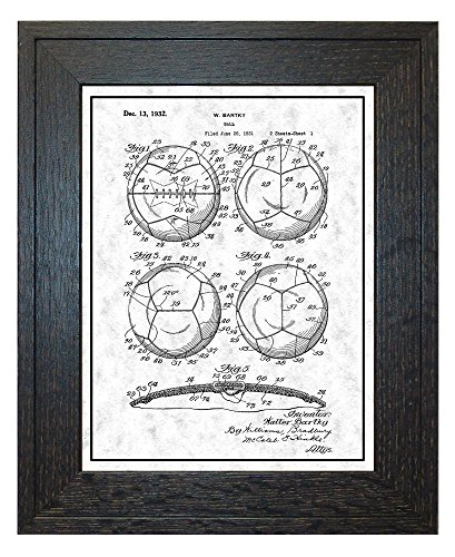 Soccer Ball Patent Art Gunmetal Print with a Border in a Rustic Oak Wood Frame (24'' x 36'') M12442 by Frame a Patent