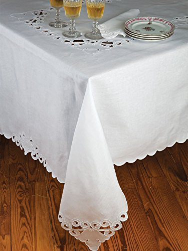 Roma Table Linens Placemat Sets, White (4 Mats, 4 Napkins) by Schweitzer Linen