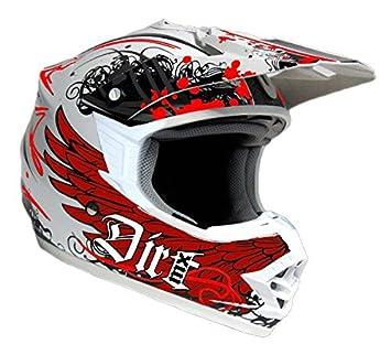 Dirt de MX Carbon Kevlar Motocross Casco Cfk Blanco Rojo con zullasung