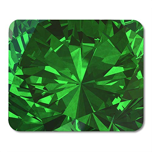 Facet Emerald - Emvency Mouse Pads Green Facet Emerald Diamond 3D Sparkle Stone Abstract Gemstone Mousepad 9.5