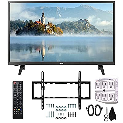 """LG 28LJ400B-PU 28"""" Class HD 720p LED TV (2017 Model) with Slim Flat Wall Mount Kit and 750 Joule 6-Outlet Surge Adapter Ultimate Bundle"""