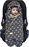 JANABEBE Swaddling Wrap, Car Seat and Pram Blanket for Winter, Universal for Infant and Child car Seats e.g. Maxi-COSI, Britax, for a Pushchair/Stroller, Buggy Or Baby 0 to 11 Months (Blue Heart)