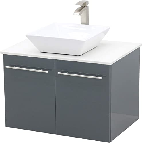 WindBay Wall Mount Floating Bathroom Vanity Sink Set. High Gloss Dark Grey Vanity