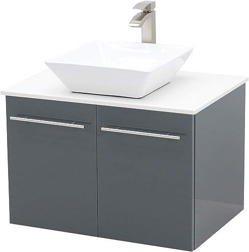 WindBay Wall Mount Floating Bathroom Vanity Sink Set. High Gloss Dark Grey Vanity