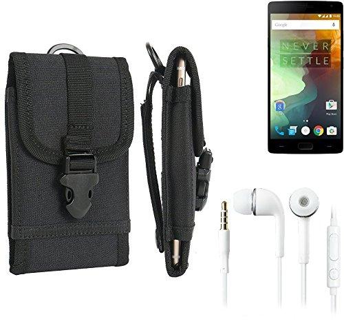 bolsa del cinturón / funda para Alcatel One Touch Idol 2 Mini Dual SIM, negro + Auriculares | caja del teléfono cubierta protectora bolso - K-S-Trade (TM)