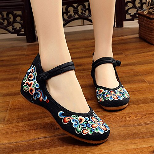 De Bordados China Floral Mujer Pisos amp;G Flores Oxford Casual Mujer Calzado Zapatos NGRDX black Retro Zapatos S4xREwwqg5